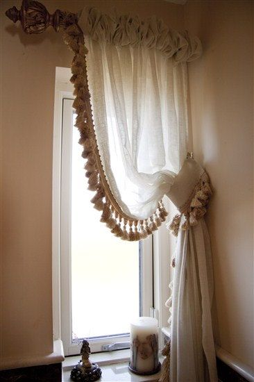 linen sheer curtain panels w tassel