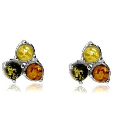 Multicolor Amber Sterling Silver Triple Stone Stud Earrings Ian and Valeri Co $30