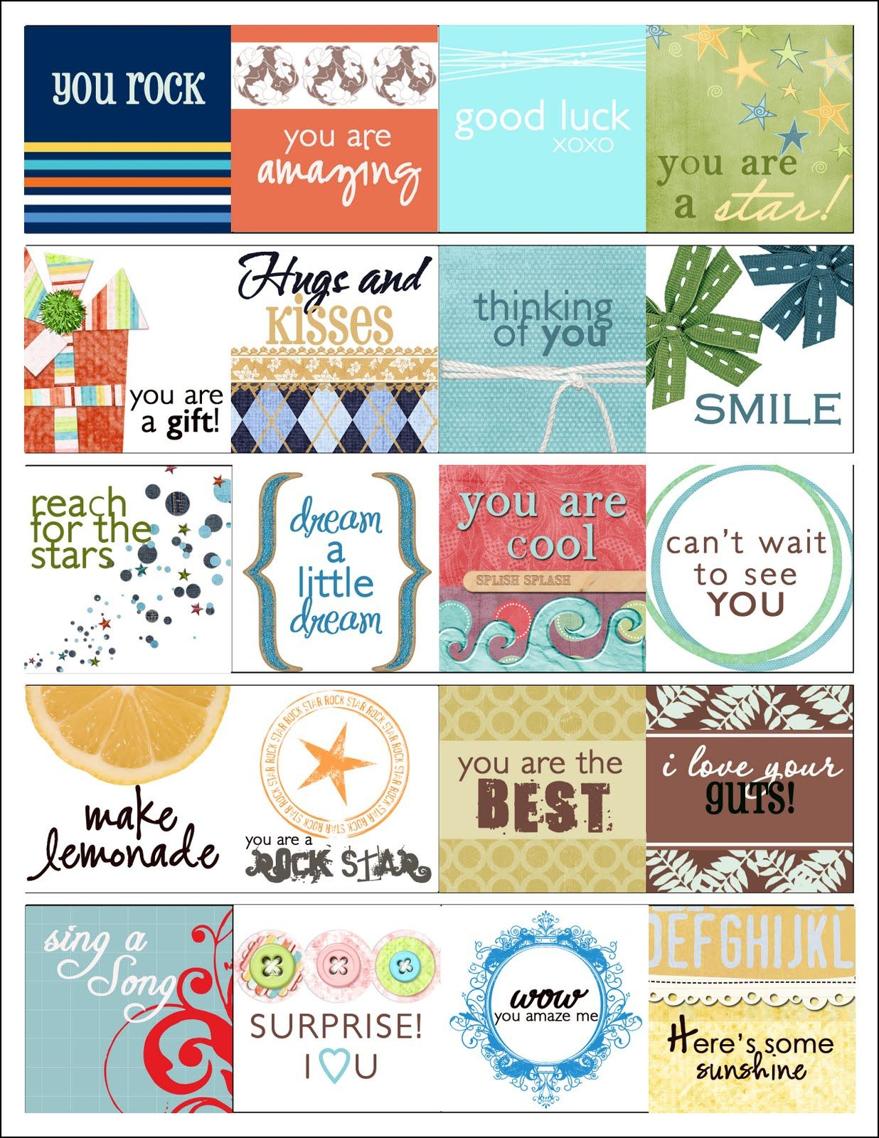 printable love notes for lunch boxes, under pillows, etc. | boy love