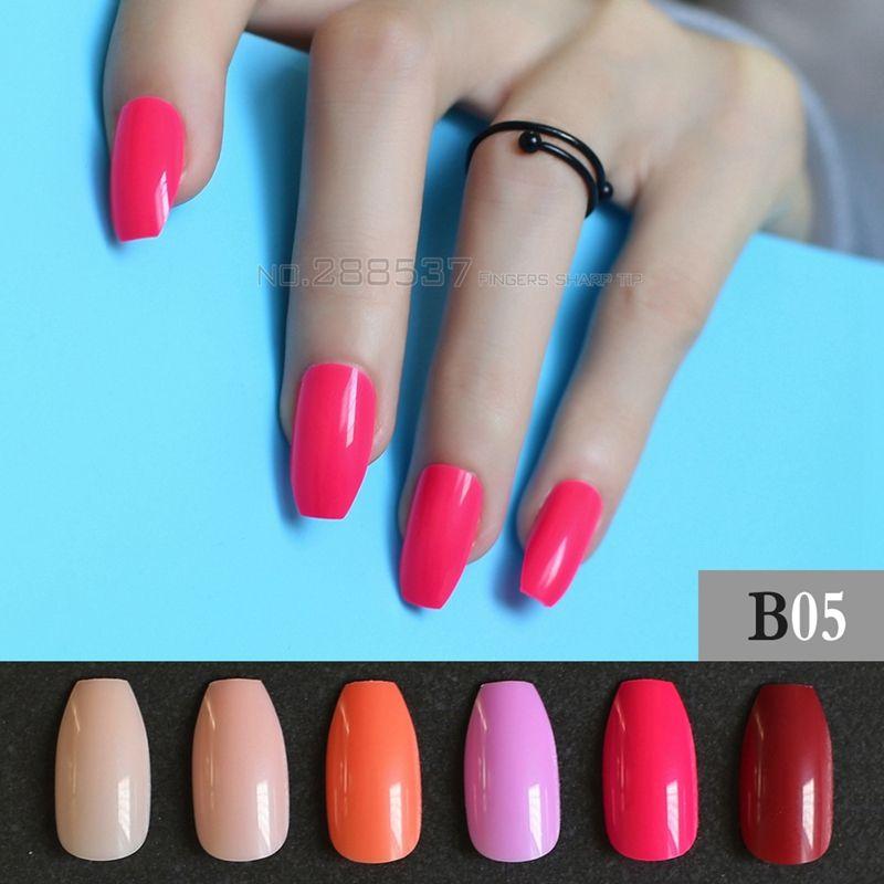 Pure colour New Ballerina False nails Designs Rose Red Fashion Cover ...