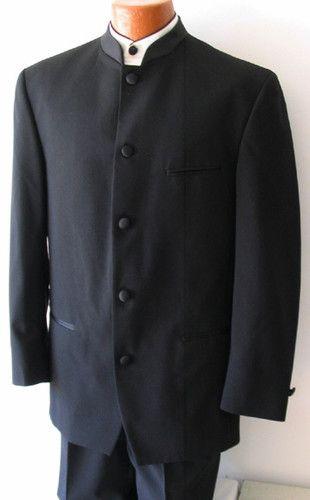 Men/'s Black Tuxedo Jacket with Satin Mandarin Nehru Banded Collar 8 Button Front