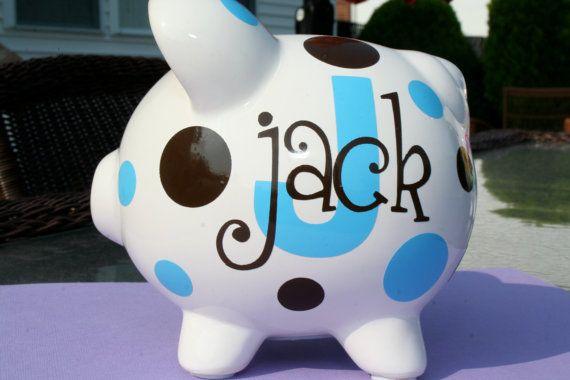 Vinyl Personalized Custom Ceramic Piggy Bank Small Size