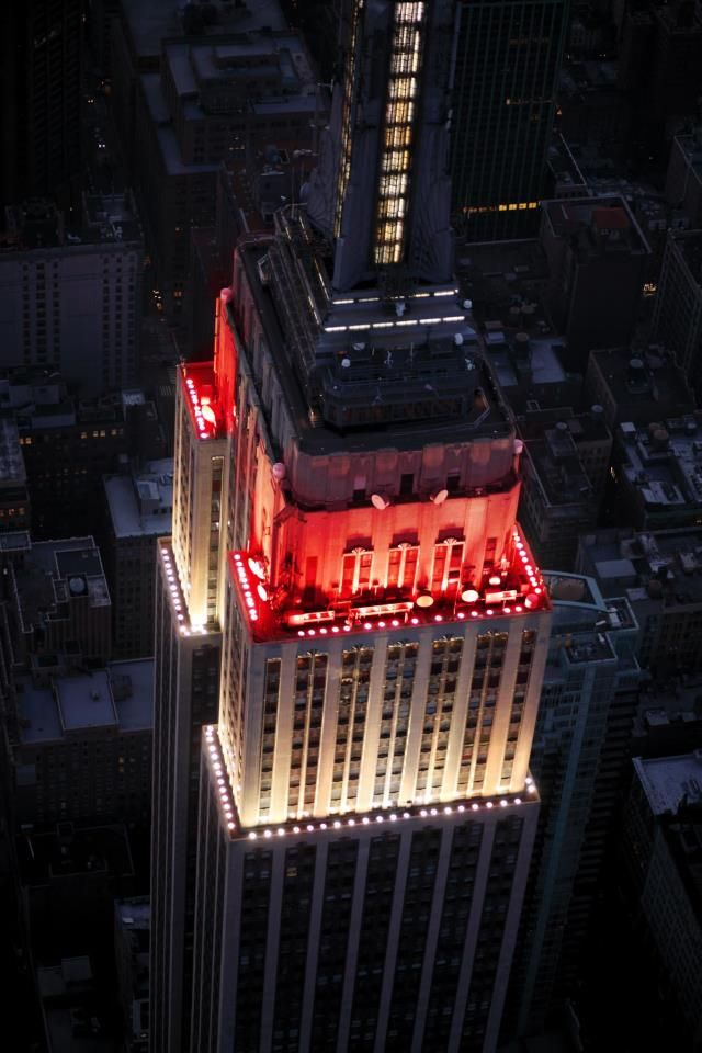 September 27, 2012 - In honor of the New York Philharmonic's 2012-2013 Season Opening Gala Concert tonight, the tower lights glowed white and red.