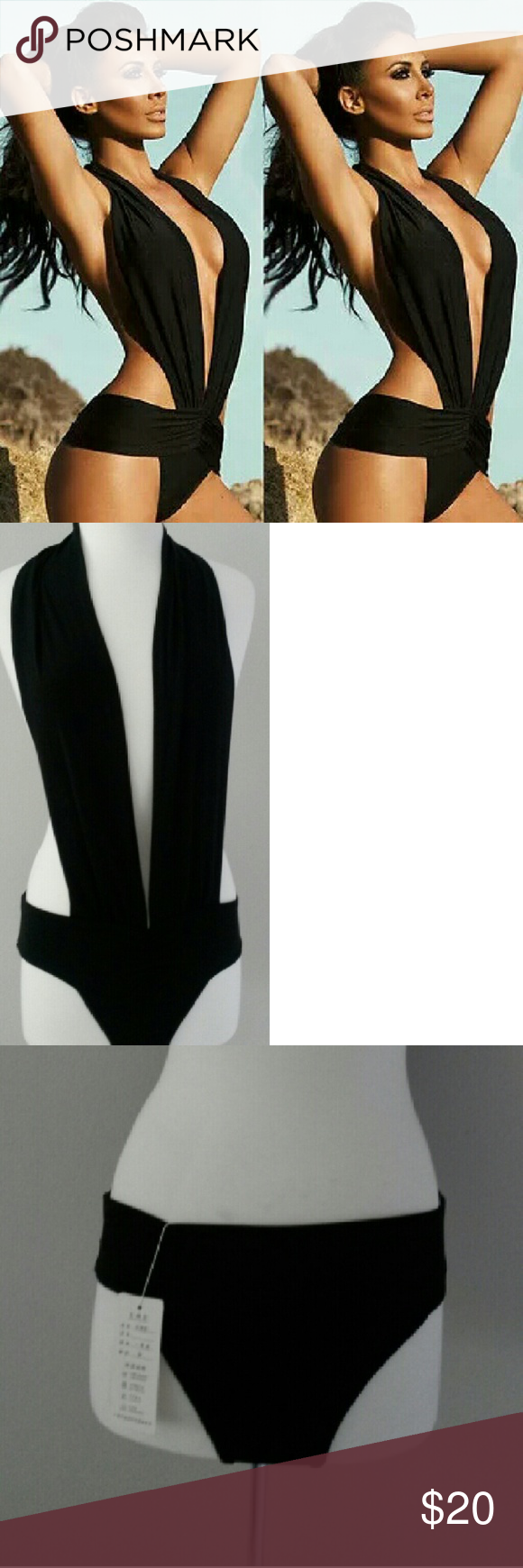 Halter Deep V Monokini New with tags  Material: Polyester LuxuryFAB Swim One Pieces
