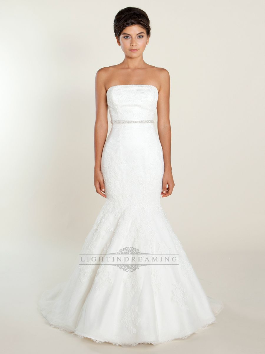 Fit And Flare Strapless Lace Wedding Dress With Beaded Belt