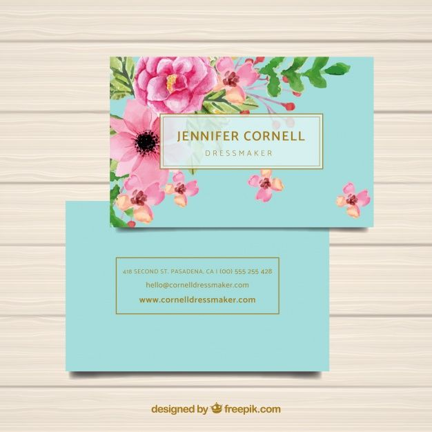 Download Watercolor Business Card Template With Flowers For Free