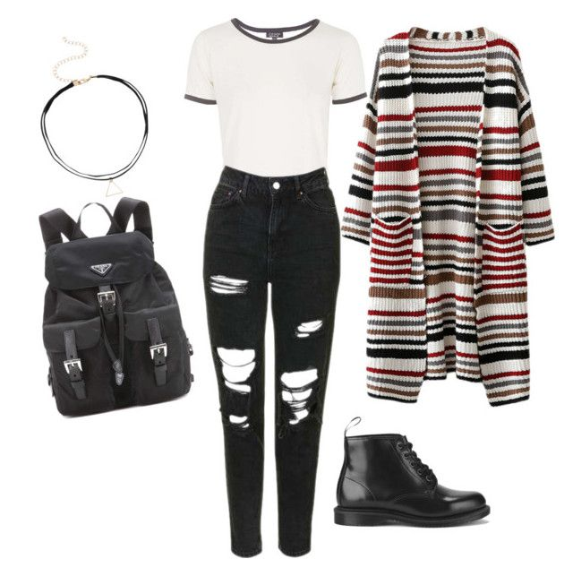 """""""OOTD"""" by khoxkho ❤ liked on Polyvore featuring Topshop, Dr. Martens and Prada"""
