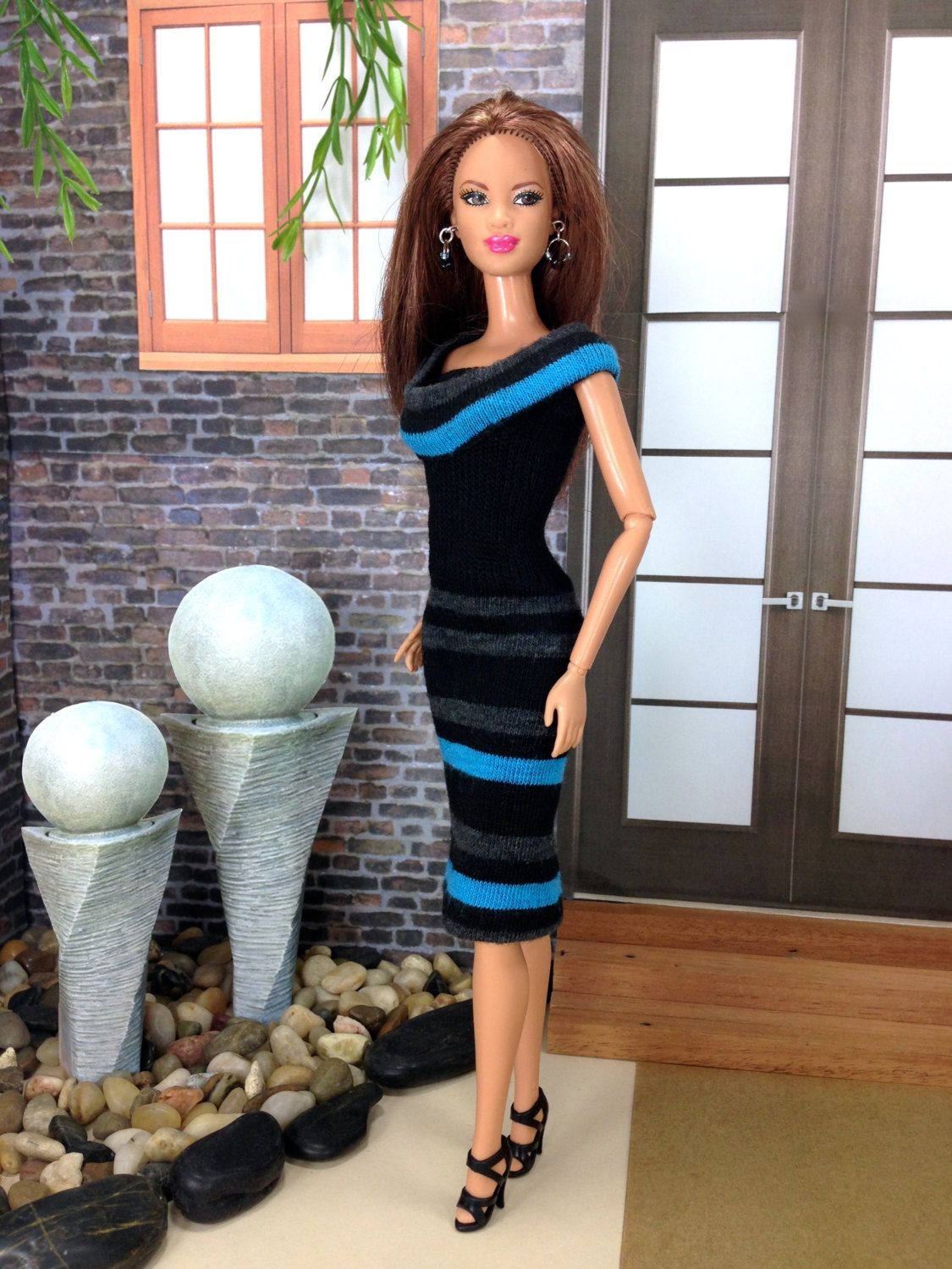 Fashion Doll Dress - 2-in-1 Design Blue, Dark Gray, and Black Striped Doll Dress with, Shoes, and Earrings. by EnchantedStyles on Etsy