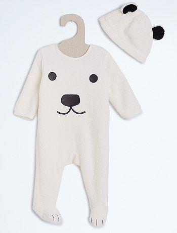 sélectionner pour le meilleur style le plus récent tout à fait stylé Pyjama avec bonnet imprimé 'Chat' beige ours Bébé garçon ...