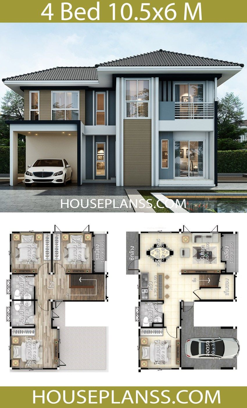 House Plans Idea 10 5x6 With 4 Bedrooms House Plans 3d House Construction Plan House Plan Gallery Bungalow House Design