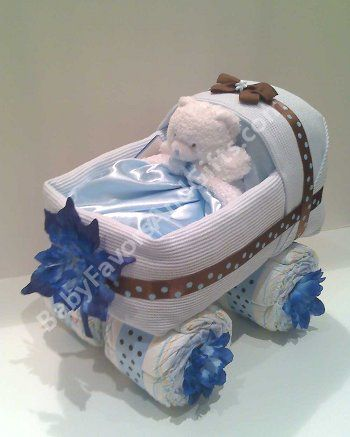 Baby Shower Centerpieces Blue Brown Baby Carriage Diaper Cake Baby