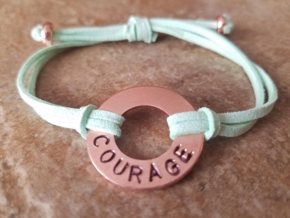 518c08de6d Custom Copper Washer Bracelet - Hand-Stamped wi/ your passion, affirmation,  school or activity. Pure