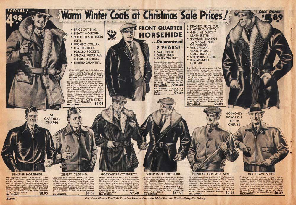 1930s Fashion For Men Boys Retrowaste Leather Jacket Men 1930s Fashion Mens Winter Fashion