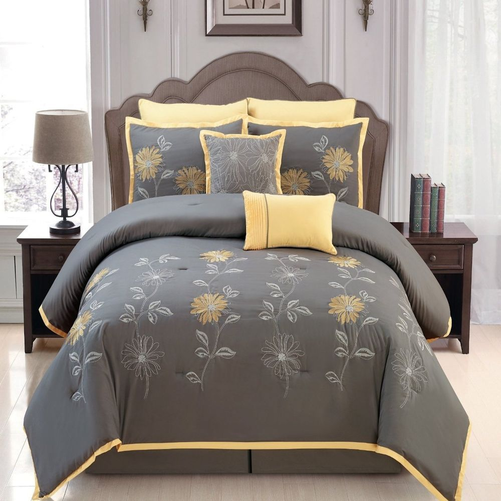 Sunshine Yellow Grey Comforter Set Flower Embroidery Bed In A Bag