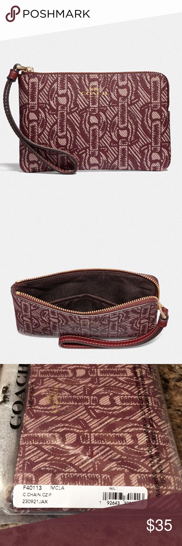ec2237f28b3 Corner Zip Wristlet with Chain Print Style F40113. Printed coated Canvas  with smooth leather details