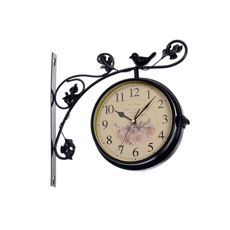 Wrought Iron Double Sided Wall Clock Modern Design Watch Saat Wall
