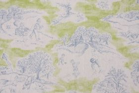 7.5 Yards Premier Playtime Toile Drapery Fabric in Baby Blue/Gate Green