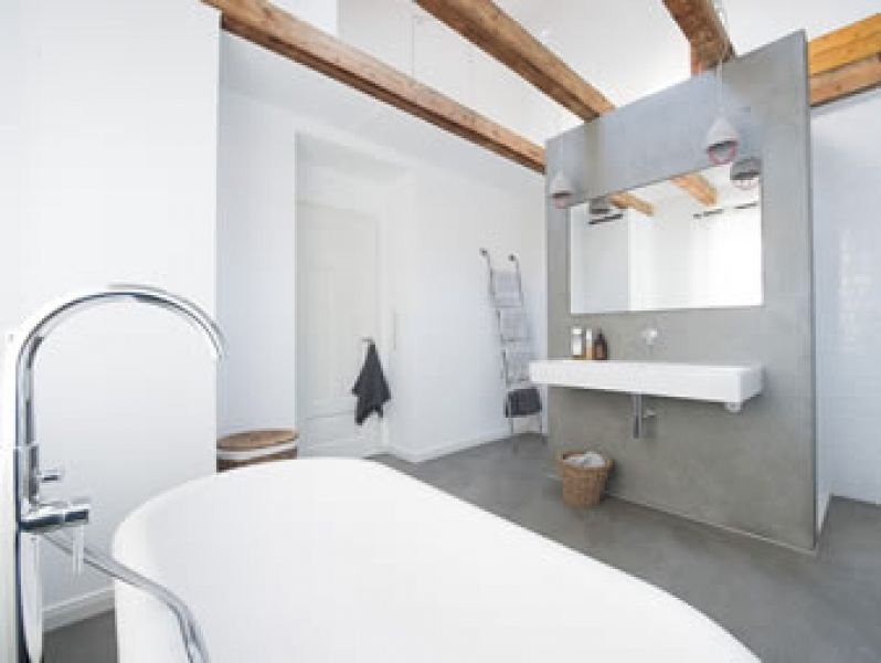 Fugenloses Bad Ohne Fliesen Als Badgestaltung In Wiesbaden - Bad fliesen sandsteinoptik