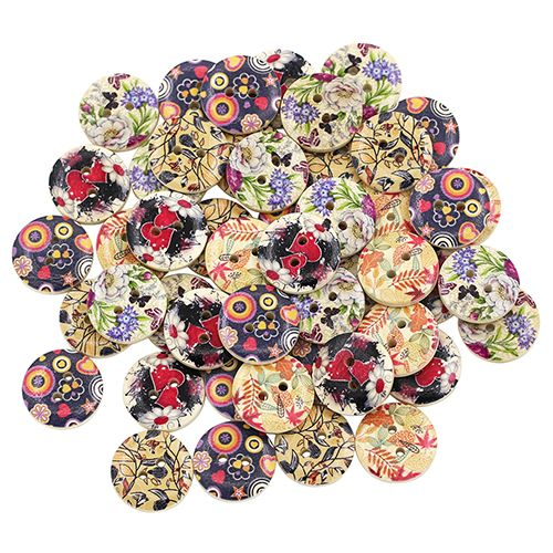 50Pcs Mixed Flower Leaf Painting Wood 2 Holes Buttons Sewing DIY Scrapbooking  7MDW