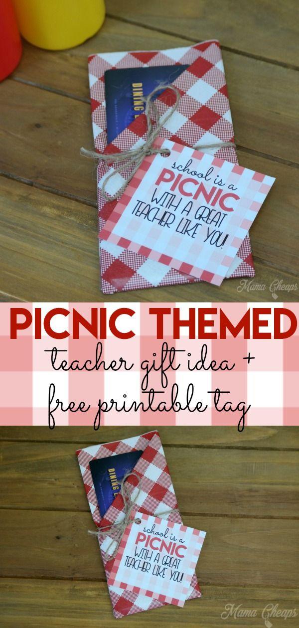 Picnic Themed Teacher Gift + Free Printable Tag #custodianappreciationgifts