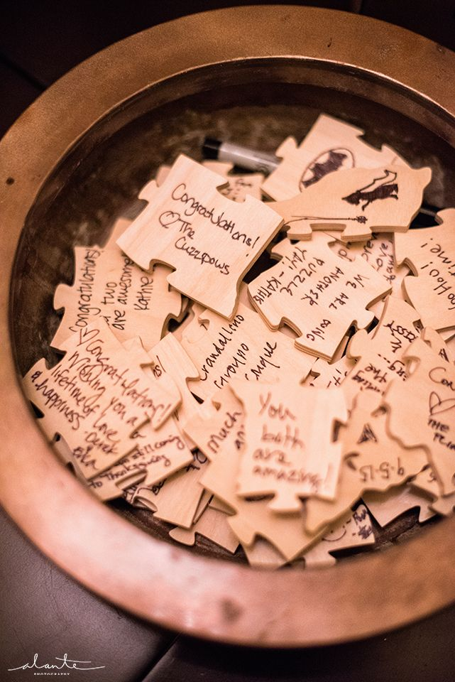 Guest Book Alternative Puzzle Pieces Fall Wedding Inspiration