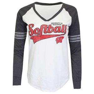 buy popular 5cf45 bf8d5 Wisconsin Badgers Softball Script Raglan Long Sleeved Shirt ...