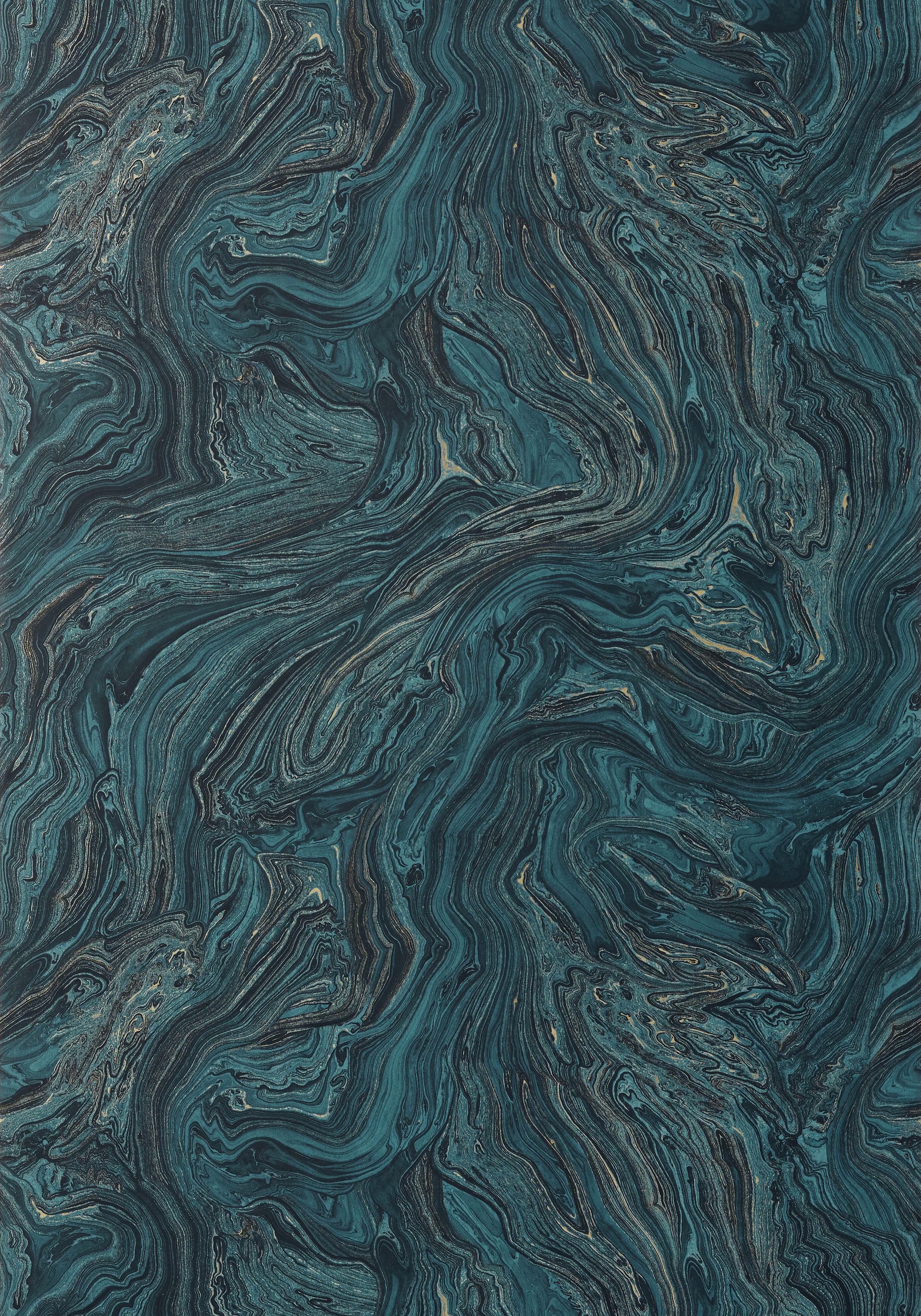 Dark hallway wallpaper  VENUS Dark Turquoise T Collection Greenwood from Thibaut