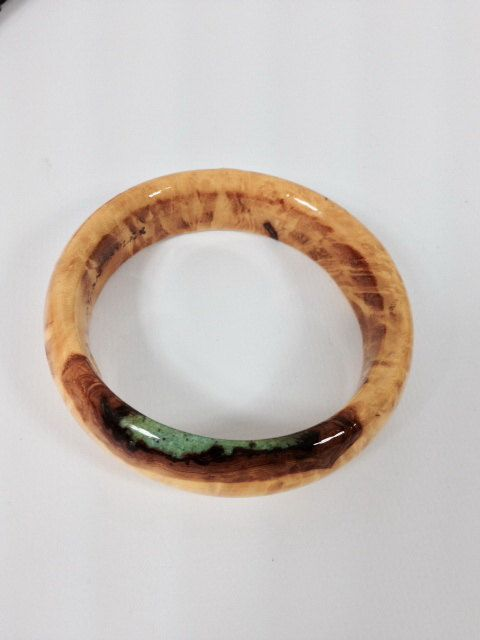 Yellow Dye Maple Burl Wood with touch of turquoise Bangle Bracelet