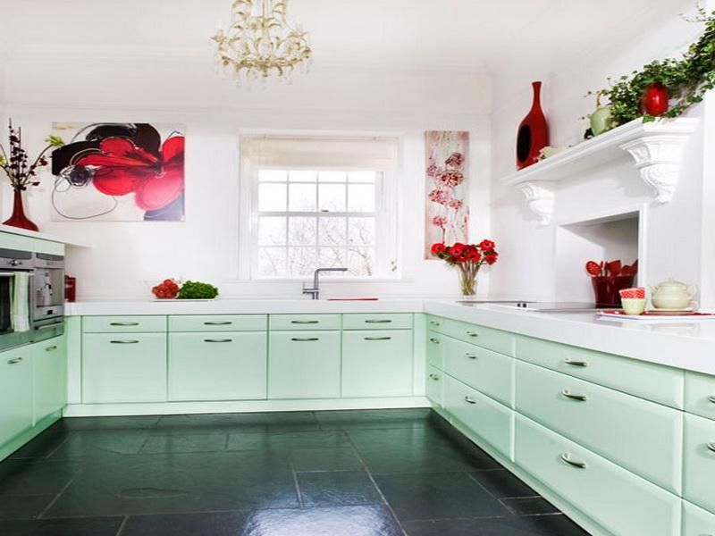 Soft Mint Kitchen With Deep Red Accents