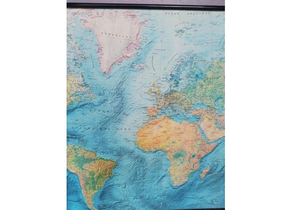 Planisphere carte du monde IGN Air France vintage 1980 en ...