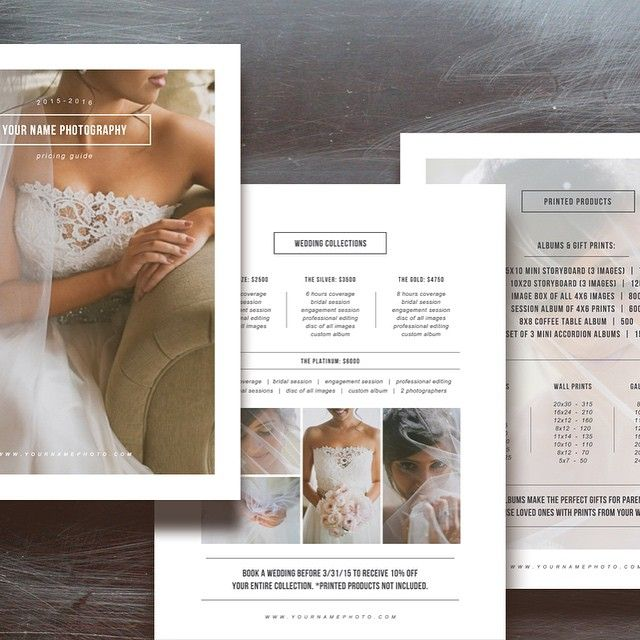 Free Photographer Pricing Guide Template Wedding Photography Marketing Advertising