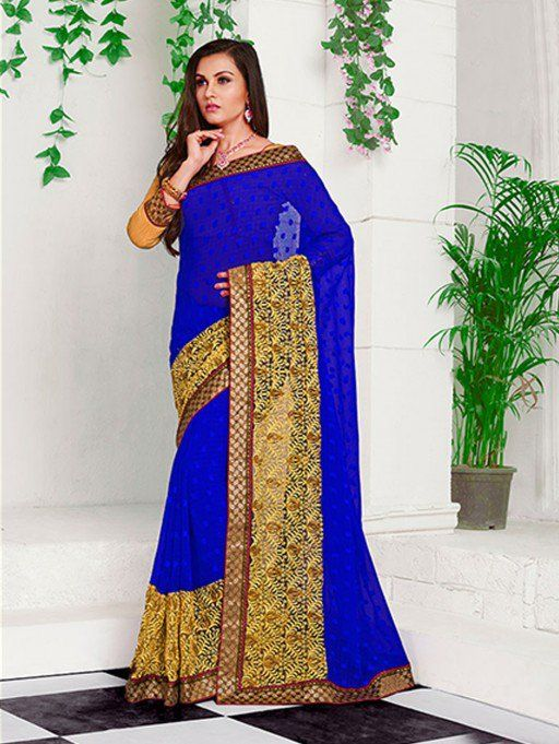 Blue Jacquard Saree with Embroidery Work