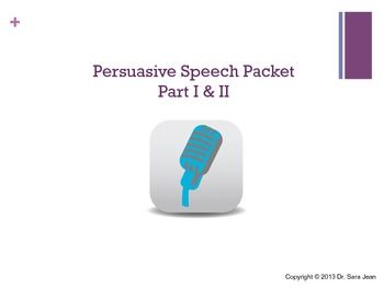 50+ page packet covering the persuasive speech!