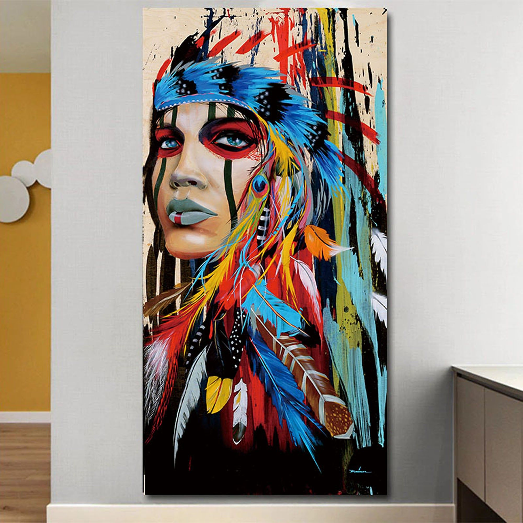 Woman Abstract Art Feathered Women Poster Abstract Colorful Art Canvas Decoration For Living Room H 3 Piece Canvas Art Wall Canvas Painting Canvas Painting