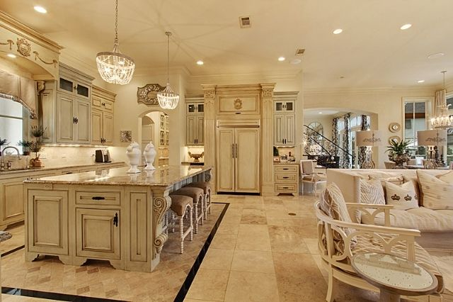 French Country Kitchen, French Country Off White Kitchen Cabinets