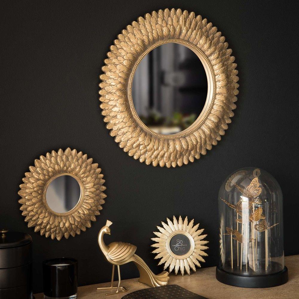 Statuette paon dor e h17 maisons du monde golden hour for Petit miroir deco