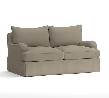 PB Comfort English Arm Love Seat Slipcover, Knife Edge, Linen Blend Gunmetal Gray
