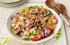 Grilled Steak Salad-This is a healthy outdoor grilling recipe. Weight Watchers 5 Points+ recipe, makes 6 servings at 2 cups per serving.