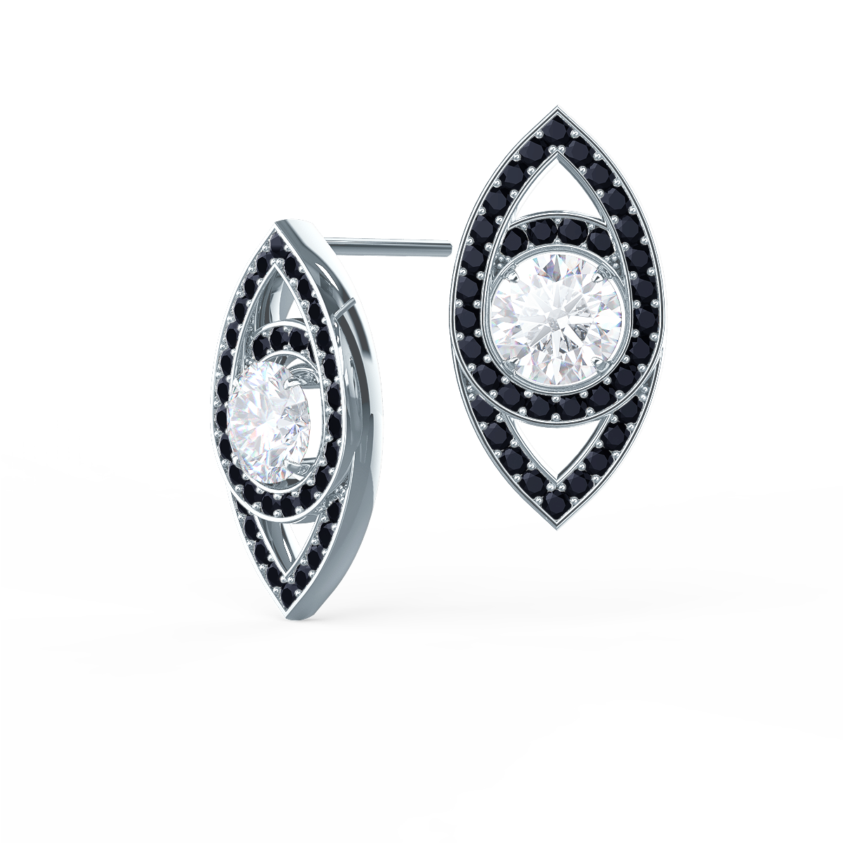 Marquise Eye Studs by Ada Diamonds. Lab grown diamond stud earrings in 18k white gold. Large round brilliant diamond center stone suspended in a marquise shape with black lab grown diamonds.