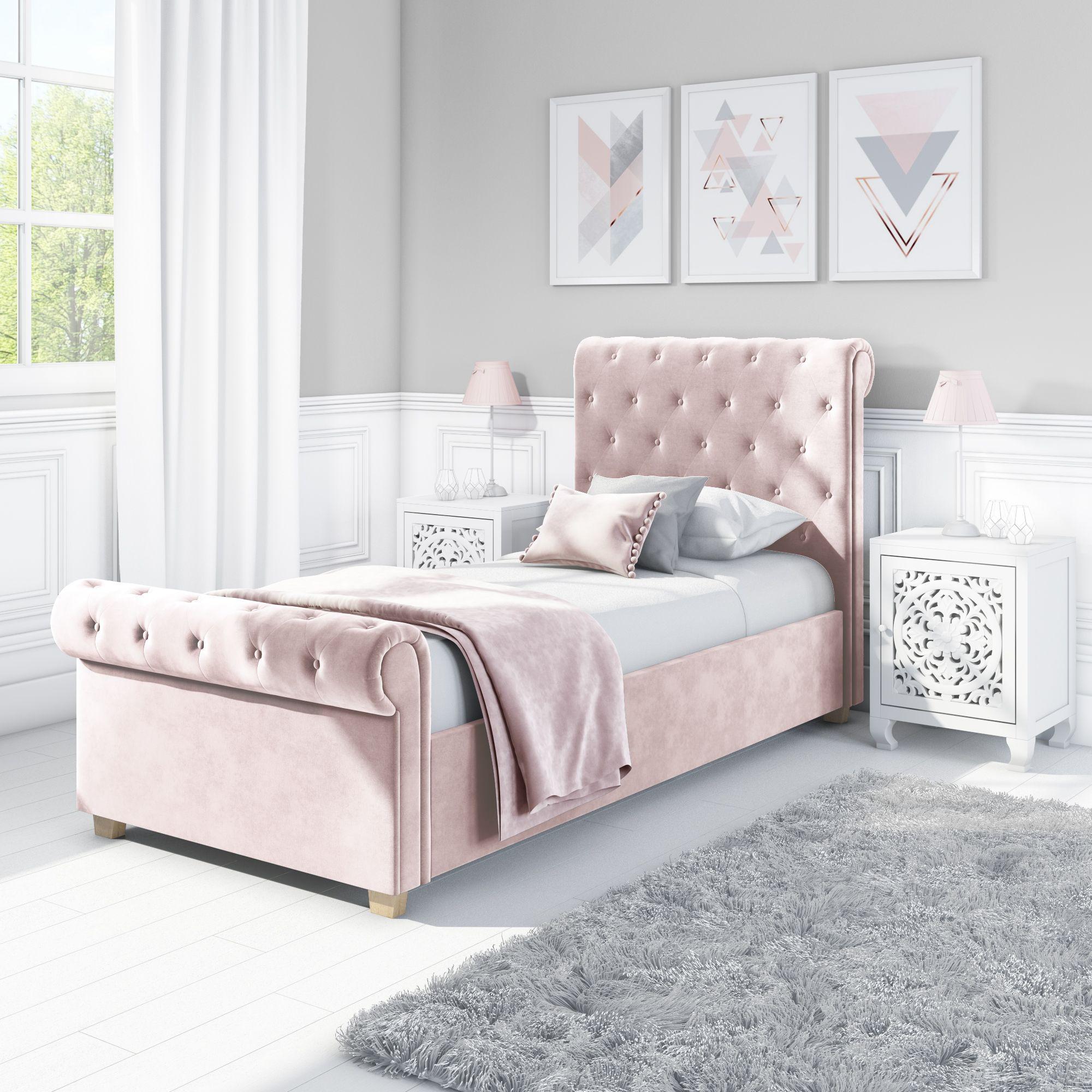 Safina Roll Top Single Sleigh Bed In Baby Pink Velvet Kids Bed