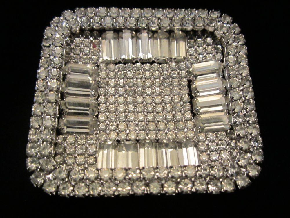 "Huge Art Deco Vintage 2-1/4"" Silver Tone Prong Set Clear Rhinestone Brooch A74"