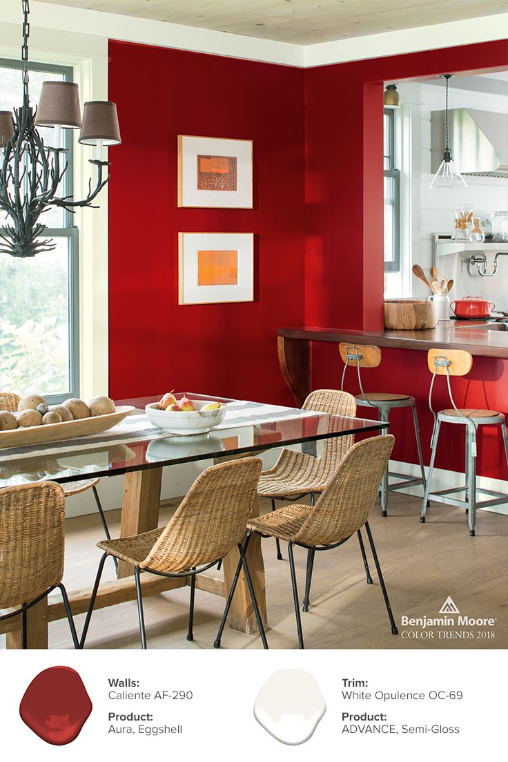 Red in a busy dining area reflects both color confidence and a sense of happiness