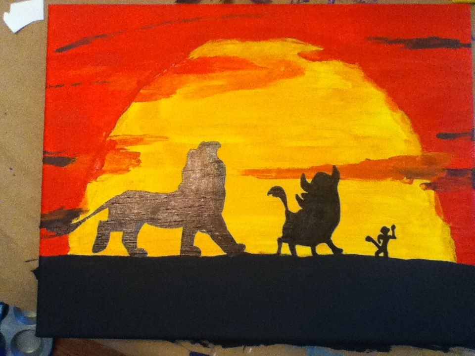 Lion King Silhouettes On Canvas With Acrylic Paint Canvas Art Thelionking Acrylics Silhouettes Lion King Art King Painting Painting