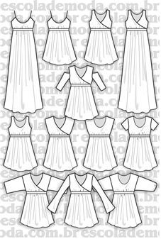 996b46541 Moldes de blusas, camisas, blazers, batas, regatas, calças, saias e  vestidos para a moda feminina - Escola de Moda Profissional