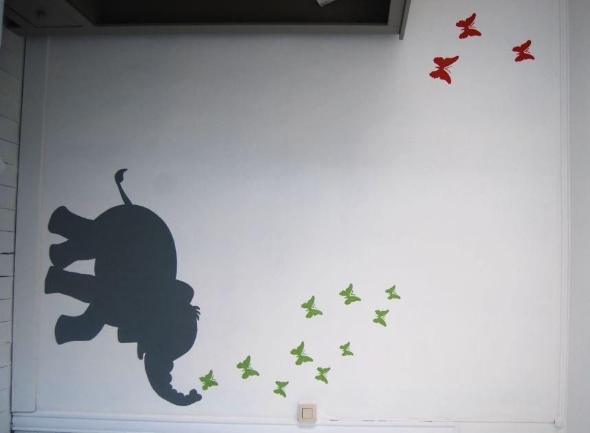 Kinderkamer Vlinder Compleet : Muurschildering olifant kinderkamer bebe en decoración de unas