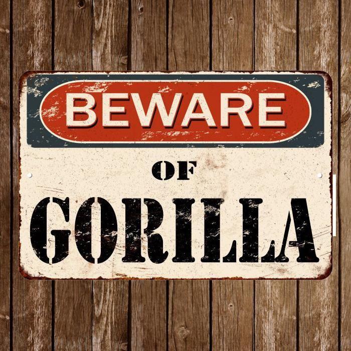Beware Of Gorilla Vintage Look Reproduction Metal Sign 8x12