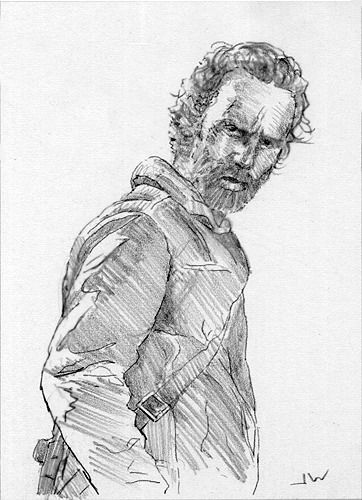 Rick From The Walking Dead ACEO Sketch Card by Jeff Ward #rick #thewalkingdead #sketchcard #aceo