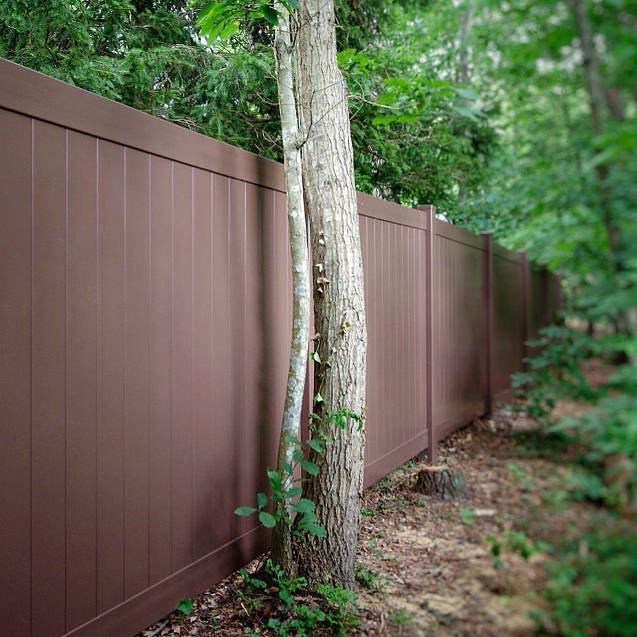 Brown Pvc Vinyl Fence From Illusions Vinyl Fence Illusions Fence Vinyl Fence Vinyl Fence Panels Wood Vinyl