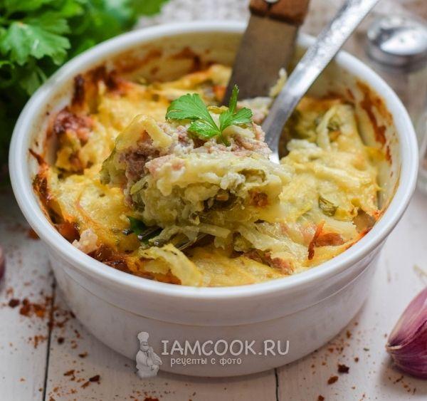 Запеканка с кабачками, фаршем и картофелем - рецепт с фото ...