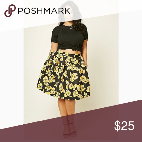 1da5e18db3b Plus size pleated floral skirt Forever 21 plus size skirts Skirts Midi